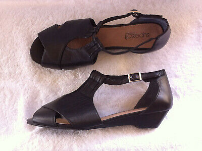 Diana F Supersoft Black Leather Wedged Flats Size: 9 C Bn