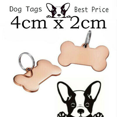 Engraved Pet Tags DOG 40 x 21cm Deep Engraving Rose Gold Plated Name Identity