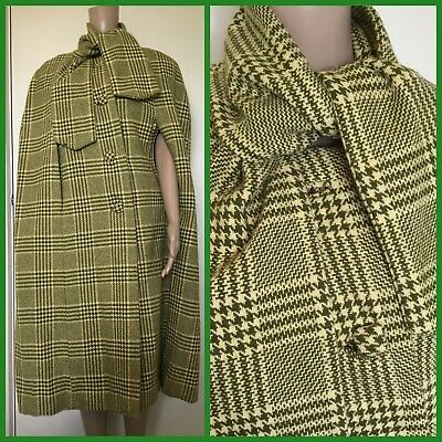 VINTAGE 60's 70's Retro PLAID WOOL WINTER CAPE COAT Houndstooth