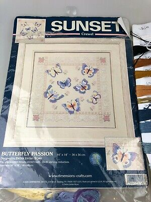 Embroidery - Sunset Butterfly Passion - Completed With Inst. & Some Cottons