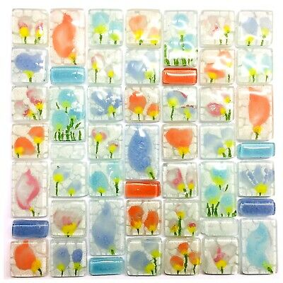 BLOSSOMS FLORAL WHITE Fused Glass Mosaic Tiles Sheets Borders Hand-Painted