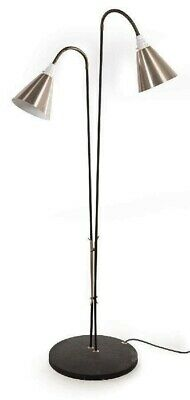 Retro floor Lamp Anodised Goose Neck Double Light vintage art deco style