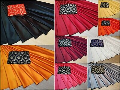 Indian Designer Wedding Bridal Plain Simple Sana Silk Sari Etnic Wear New HR