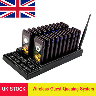 Restaurant 20*Coaster Pager Guest Calling Wireless Paging Queuing System UK Ship