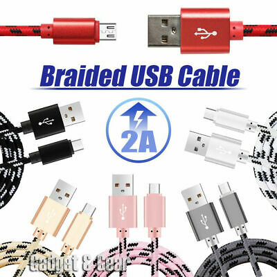 1M/2M/ Strong Braided Micro USB Data Sync Charger Cable Cord Android Samsung