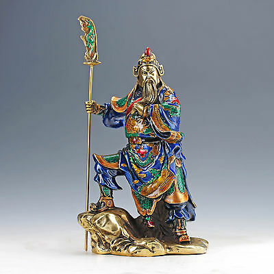 Chinese Collectable Cloisonne Hand Carved General Guanyu Statue