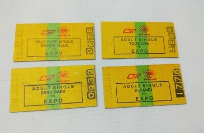 EXPO 1988 Brisbane 4 old SINGLE FARE train ticket stubs
