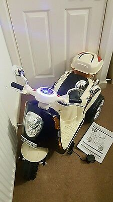Chad Valley 6V Three Wheel Anti-Slip Easy Grip Electric Scooter - Cream. New