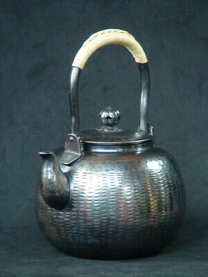 Antique Japanese Silver plated Teapot Ginbin kettle Tea Ceremony Kyusu Sencha