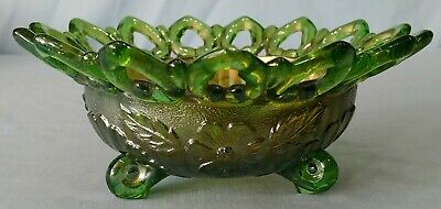 Antique Northwood Green Carnival Glass Reticulated Nut Bowl Wild Rose