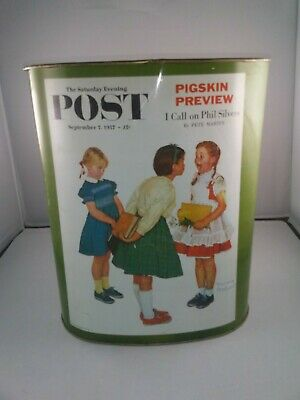 Vintage CHEINCO Norman Rockwell Saturday Evening Post trash garbage can USA 13""