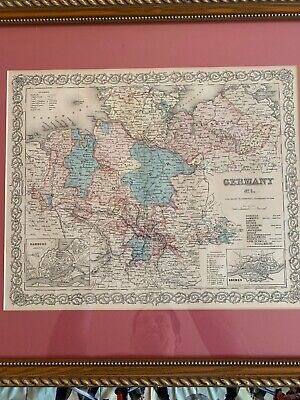Framed And Matted J.H. Colton's 1855 Germany No. 1 Atlas Map