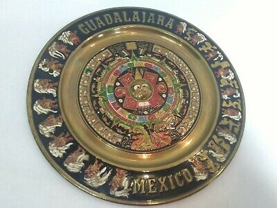 vintage brass enameled decorative hanging plate 11in from mexico