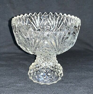 Vintage Clear Etched Cut glass candy nut dish Round Diamond pattern