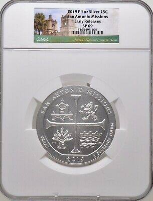 2019-P 5oz SILVER 25C San Antonio Missions NGC SP 69 Early Releases must see!