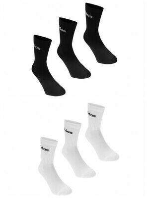 New Mens Womens Unisex Adidas Crew Socks 3 Pairs White Or Black Sports All Sizes