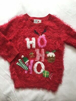Christmas Jumper Girls 2-3 Years George Exc Cond As Worn Once