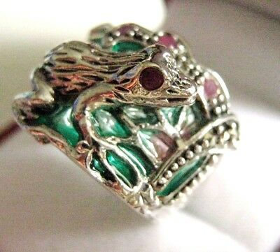 Sterling Silver Art Nouveau Sun Rise Plique a Jour Ruby 3D Frog Ring NEW size O