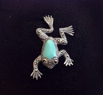 Art Deco design leaping Frog Sterling Silver Turquoise and Marcasite Brooch Pin