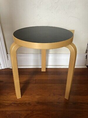 Marvelous Alvar Aalto Stool 60 Artek Table Seat Black Linoleum Seat Creativecarmelina Interior Chair Design Creativecarmelinacom