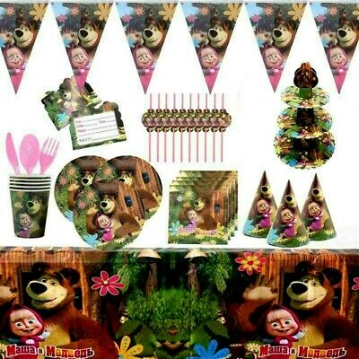 Masha and The bear  Kids birthday party supplies tableware decoration plates cup