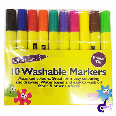 New 10 Washable Markers Assorted colours kid friendly water colour pen colouring