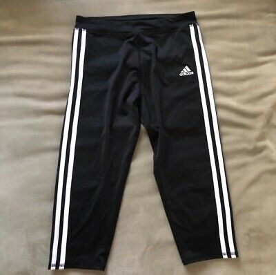 ADIDAS girls youth Climalite CAPRI LEGGINGS black with white stripes Sz M 10-12