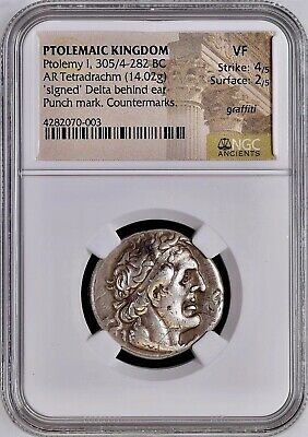 PTOLEMY I Signed Δ Delta / Egypt Ancient Greek Silver Tetradrachm NGC VF