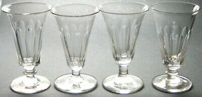 Set of 4 Antique Georgian or Early Victorian Hand Blown Facet Cut Jelly Glasses