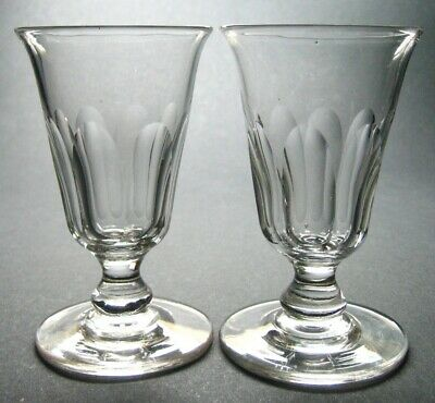 Set of 2 Antique Georgian or Early Victorian Hand Blown Facet Cut Jelly Glasses