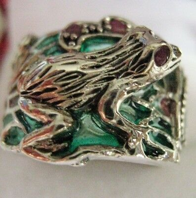 Sterling Silver Art Nouveau French inspired stained Glass Ruby Frog Ring O