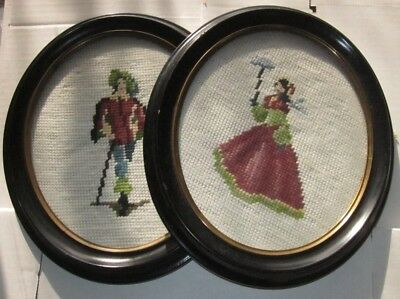 PAIR of ANTIQUE NEEDLEPOINT PETIT POINT GROOVED WOOD FRAME VICTORIAN MAN WOMAN