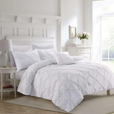 Fixtex Luxury White Pinch Pleat Pintuck Double Bed Duvet Cover Double,