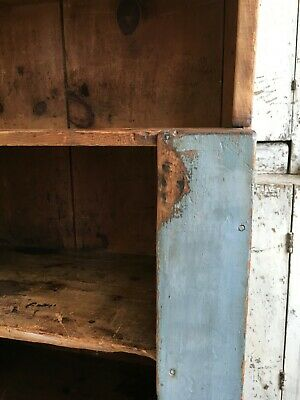 Early Aafa Antique Bucket Bench Cabinet Cupboard Square Nails Orig Blue Paint
