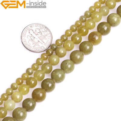 A Grade Natural Gemstone Spacer Yellow Olive Jade Round Beads For Jewelry Making