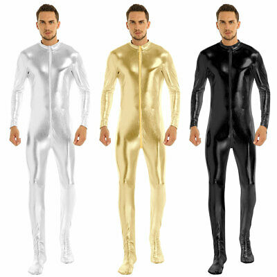 Mens Shiny Metallic Bodysuit Zipper Stretchy Full Body Leotard Jumpsuit Clubwear