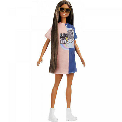 Barbie Fashionistas Doll, Original Body Type with Color-Block Dress
