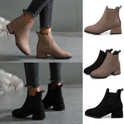 Womens Flat Ankle Boots Ladies Faux Suede Low Heel Slip On Winter Shoes Size 4-7