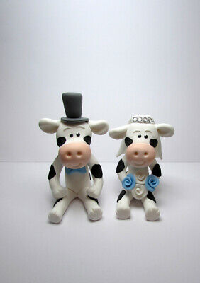 Personalised  Wedding Cake Topper, Bride and Groom Cow, Cake Decoration