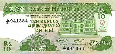 Mauritius  10  Rupees  ND. 1985  P 35a  Series  A/31  Uncirculated Banknote LB3