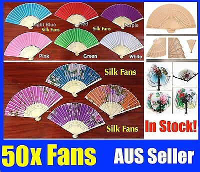 Bulk 50x  Chinese Hand Folding Bamboo Wooden Paper Fan White Red Black
