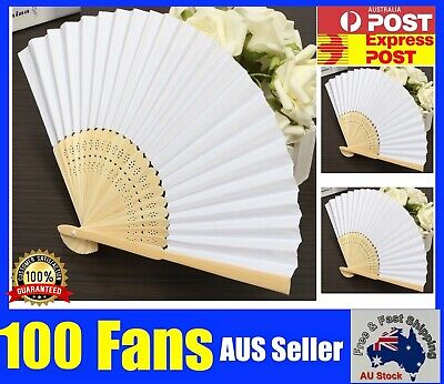 Bulk 100 Pcs White Folding Bamboo Paper Hand Fan Fans DIY Wedding Gifts Favours