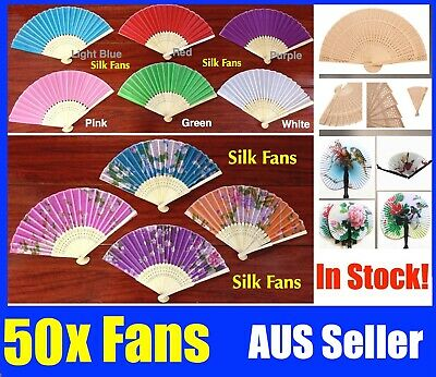 Bulk NEW 50x Chinese Hand Folding Bamboo Paper Fan White Paper Fans