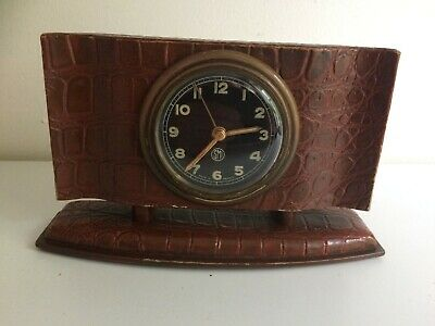 Vintage Art Deco Simulated Crocodile Leather Bedside Clock - S.M.R. France