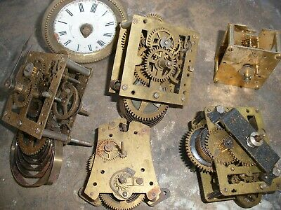 Six Antique Clock Movements for Restoration or Spare Parts