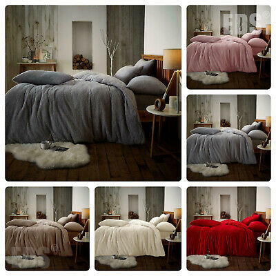 Teddy Bear Sherpa Fleece Duvet Cover & Pillowcases Bedding Set Bed Linen Set
