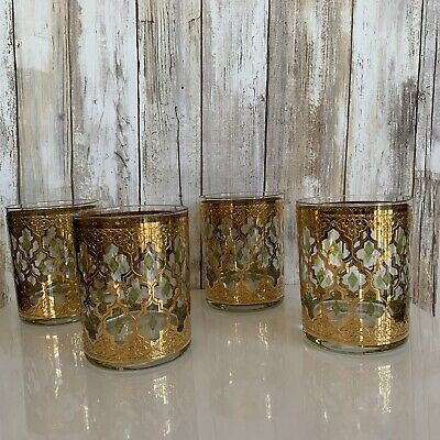 4 Culver LTD Valencia 22K Gold Green Diamond Whiskey Rock Glass MCM Vintage VTG