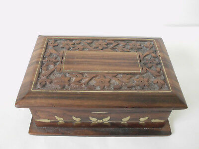 Ornate Carved Treen Box - Antique Walnut Wood with Brass Inlays - for Jewellery