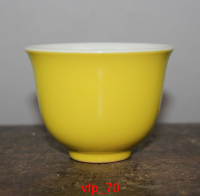Old China mark antique Daming Yellow glaze Small cup Teacup