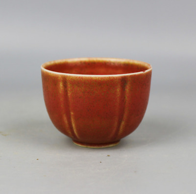 Asia China antique Collection Qing Dynasty monochrome red melon cup